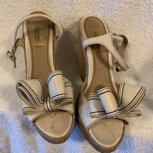 Valentino cream wedge heels